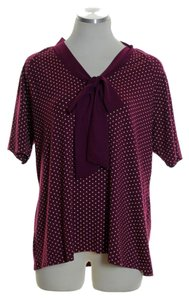 Talbots Polka Dot Short Sleeve Top Purple