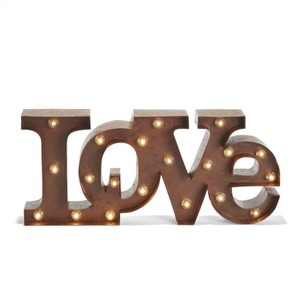 Marquee Lighted Sign Love Vintage Rustic Style. Lights Sign Wedding Decor Party Event Anniversary Bedroom
