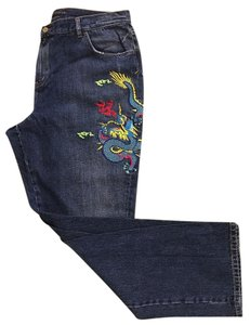 Ralph Lauren Label Distressed Straight Leg Jeans-Distressed