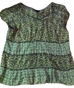 Venezia by Lane Bryant Top Brown, Cream and Forest Green