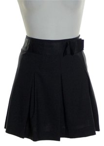 Theory Wool Blend Stretch Mini Skirt Black