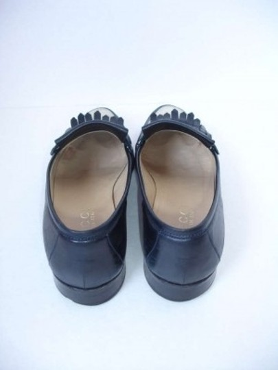 Gucci Vintage Nappa Lamb Leather Moccasin Dark Navy & Cream Flats