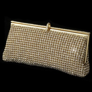 Elegance By Carbonneau Rhinestone Covered Evening Bag Purse In Gold