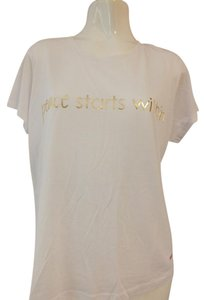 Peace Love World T Shirt White/Gold