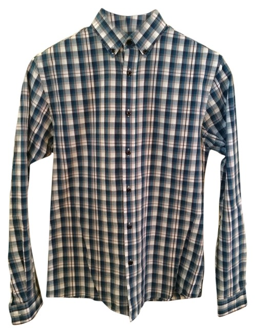 TopMan Button Down Shirt Teal, White And Purple Striped