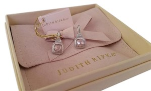 Judith Ripka Sterling Silver and 18K Gold Pink Crystal and White Sapphire Earrings