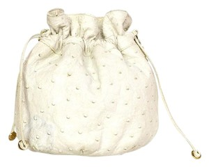 Chanel Ostrich Drawstring Cross Body Bag