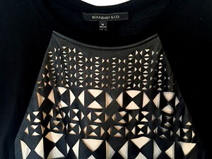 Boundary & Co. Laser Cut T Shirt black and tan