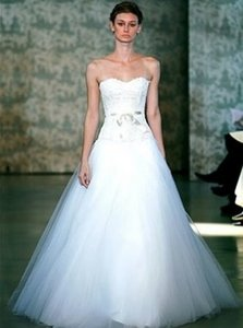 Monique Lhuillier Tasha X Lace Strapless Lightweight Ballgown Tulle Aline Circle Skirt Wedding Dress