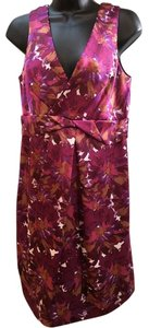 Max and Cleo short dress Raspberry/purple/gold V-neck V-back Floral Textured Sleeveless on Tradesy