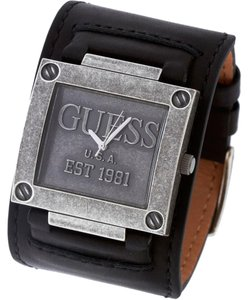 Guess Guess Men's Black Leather Cuff & Stainless Steel Watch W0418G2