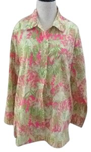 Lilly Pulitzer Button Down Flower Button Down Shirt Multicolor