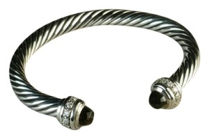 David Yurman David Yurman 7mm Sterling Silver Cable Cuff Bracelet, Smokey Quartz & Diamond