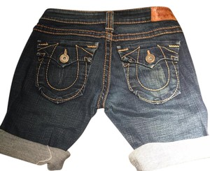 True Religion Cuffed Shorts Darker blue jean