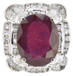 14K Two Tone Gold 15.80Ct Ruby 2.50Ct Diamond Ring 15.1 Grams Size 9.5
