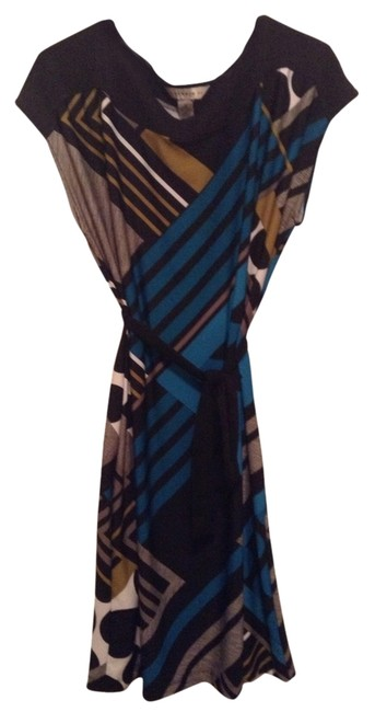 Item - Black Green and Blue Work/Office Dress Size 12 (L)