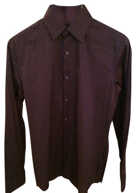 Theory Button Down Shirt Maroon With Grey Dots