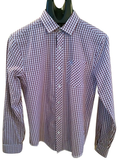 Penguin Button Down Shirt Light Blue, Maroon And White