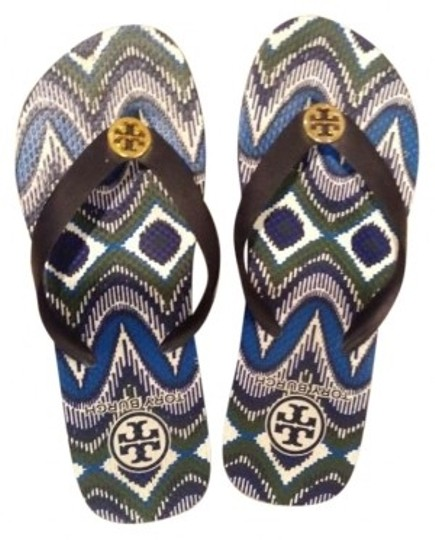 Preload https://item4.tradesy.com/images/tory-burch-black-blue-and-white-sandals-size-us-6-171163-0-0.jpg?width=440&height=440