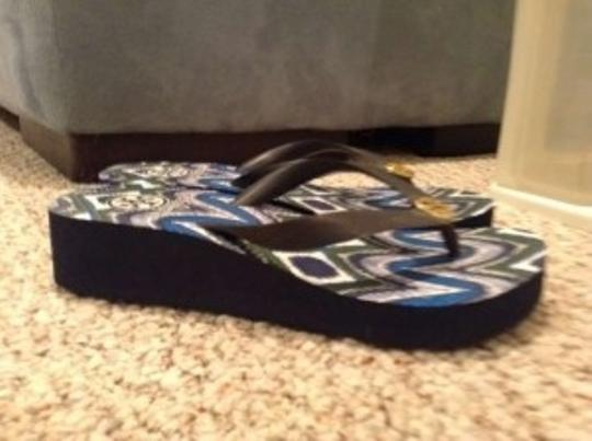 Tory Burch Black, Blue and White Sandals