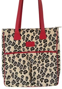 Baekgaard Animal Print Red Pockets Snow Leopard Tote in Cream/black/brown/red