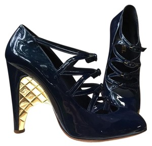 Chanel Cc Logo Leather Heels Blue Pumps