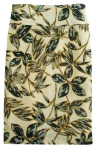 J.Crew J. Crew Pencil Floral Skirt Gold Foil Leaf