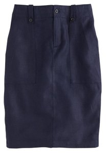 J.Crew J. Crew Pencil Linen Skirt Navy