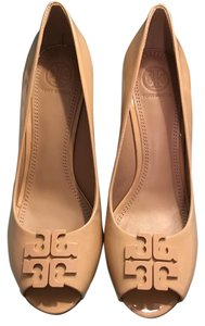 312e8cce1c81a Tory Burch Light Oak Lowell Patent Leather Peep Toe Wedges Size US 9 ...