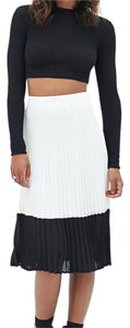 Other Colorblock Pleated Date Night Skirt Black and white