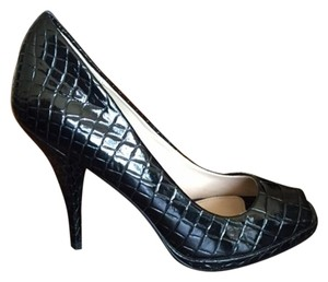 Colin Stuart Peep Toe Pump Black Alligator Print Pumps