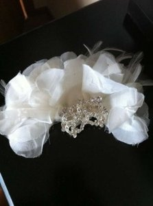 Other Bridal Hair Flower With Attached Rhinestone Broach Pin