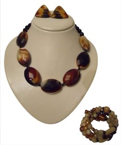 You & I earth tone necklace,bracelet & earrings
