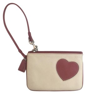 Coach Wristlet in Cream & Red