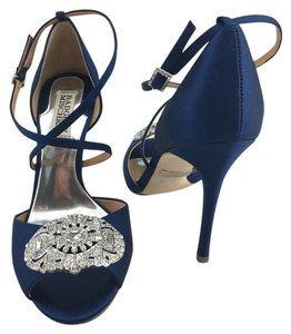 Badgley Mischka Crystal Wedding Navy Satin Sandals