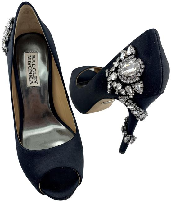 Badgley Mischka Black Royal Crystal Embellished Peep Toe Pumps Size US 5.5 Regular (M, B) Badgley Mischka Black Royal Crystal Embellished Peep Toe Pumps Size US 5.5 Regular (M, B) Image 1