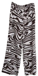 Michael Kors Micheal Mk Woodgrain Wide Leg Pants Brown and white