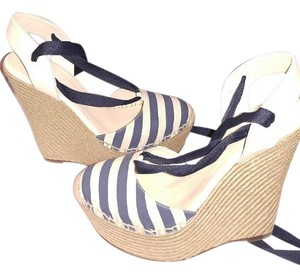 Gucci Wedge Espadrille Natural / Blue Sandals
