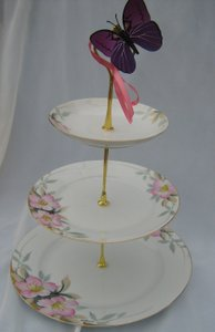 Wedding 3 Tier Cake Stand China Noritake Hand Painted Azalea Shabby Chic 3 In 1
