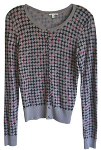 Halogen Houndstooth Navy Red Longsleeve Crew Neck Cardigan
