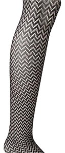 DKNY NWOT Black Gold Metallic Chevron Openwork Knit Tights Dkny