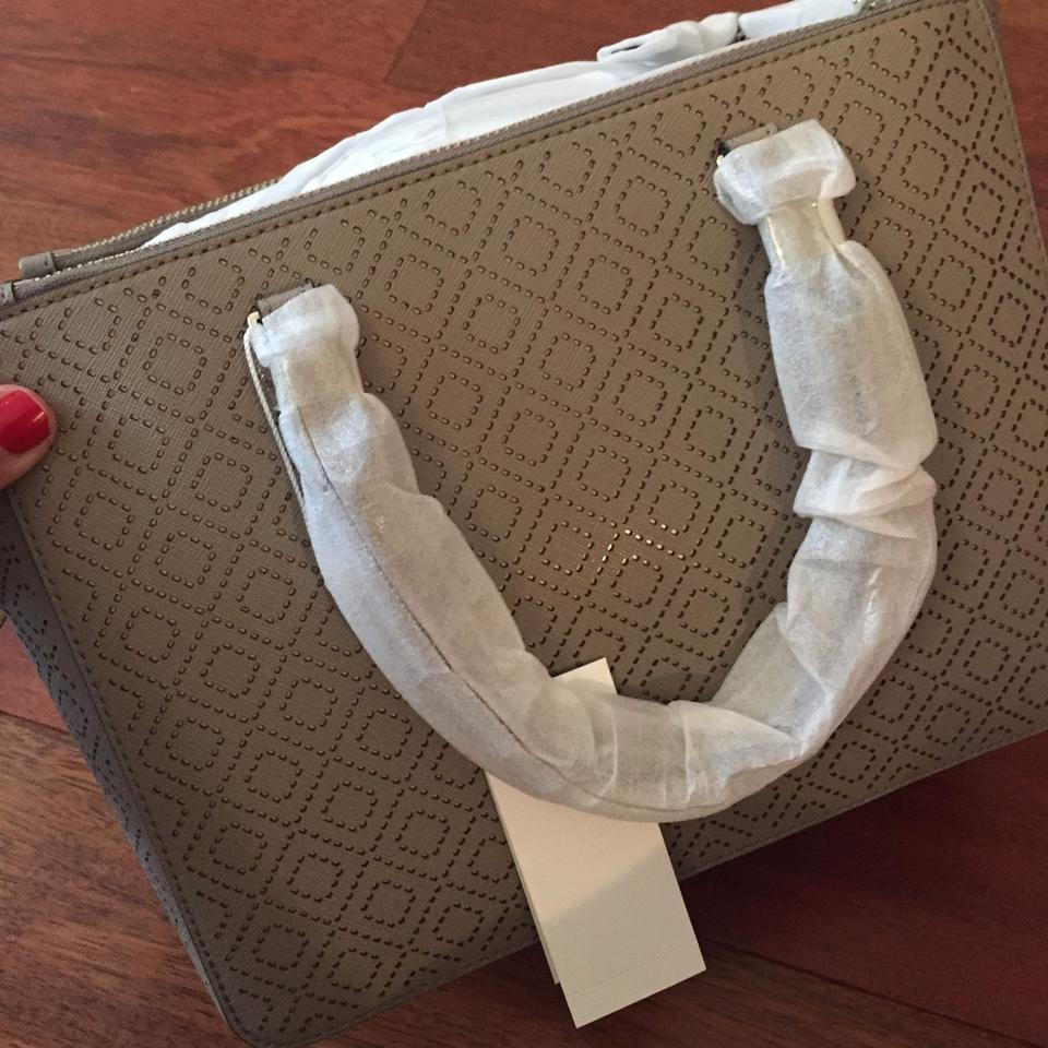 French Gray Tory Double Leather Robinson Tote Perforated Burch Small Zip wSYPrRSq