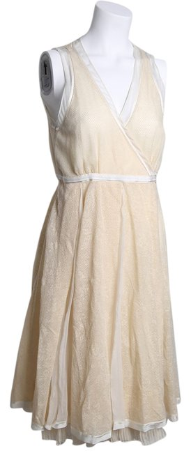 STRENESSE Creme Eggshell/Creme Above Mid-length Formal Dress Size 8 (M) STRENESSE Creme Eggshell/Creme Above Mid-length Formal Dress Size 8 (M) Image 1