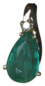 SALE*1.75 CT NATURAL UNTREATED EMERALD & DIAMOND 14K GOLD PENDANT