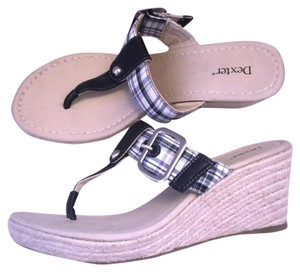 Dexter Plaid Checkered Preppy Girl Summer Black White Sandals