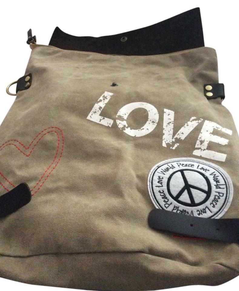Peace Love World Beige/Brown Canvas/Leather Backpack