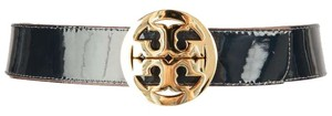 Tory Burch Reversible Navy Patent and White Leather Belt with Gold Logo Buckle