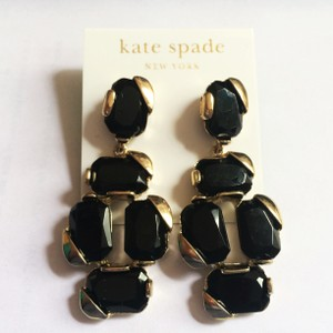 Kate Spade NEW Stepping Stones Statement Earrings, Black, Gold