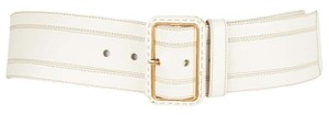 Prada Off White Wide Leather Belt with Gold Hardware