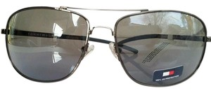 Tommy Hilfiger NEW TOMMY HILFIGER SLADE GUNMETAL FRAME GRAY LENS UNISEX AVIATOR WITH BROW BAR
